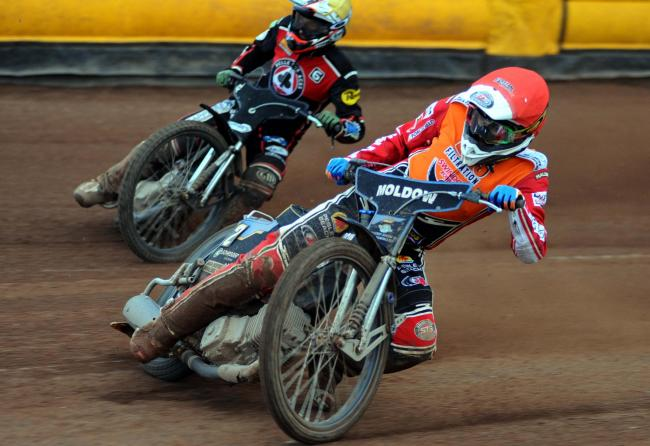 Swindon Robins' Rasmus Jensen claims victory in heat nine on Monday night. PICTURE: DAVE EVANS