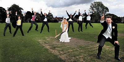 Roddy Chisholm Batten and his bride Lucy and their wedding guests stop off for a game of cricket