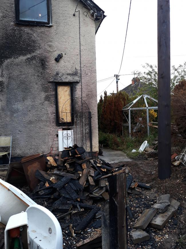 The home was badly damaged