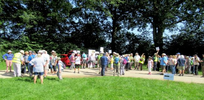 Avid walkers gathered at Lacock Abbey's car park