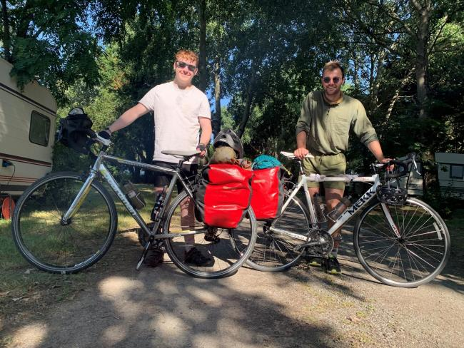 Josh Brain and Harry Davies-Ball take a breather during their 1,000-mile cycle ride for Wiltshire MIND