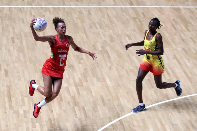 Captain Serena Guthrie, left, led England to victory over Uganda