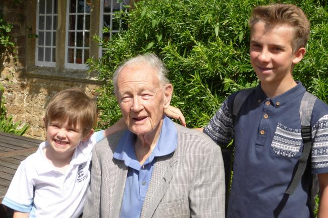 Photo Sir Wynn Hugh-Jones and his two grandsons (looking at the photo Leo on left James on right).jpg