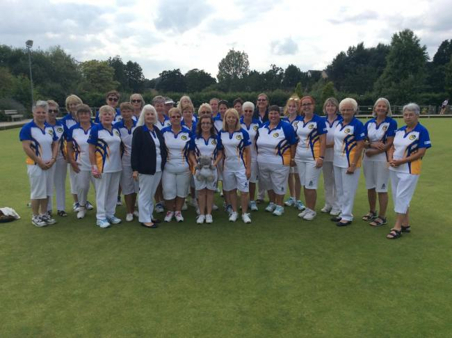 The victorious Wiltshire ladies side at Cotswold who beat Somerset to reach national championships at Leamington again with county ladies president Ruth Gerrish (Bradford-on-Avon) in jacket on front row.
