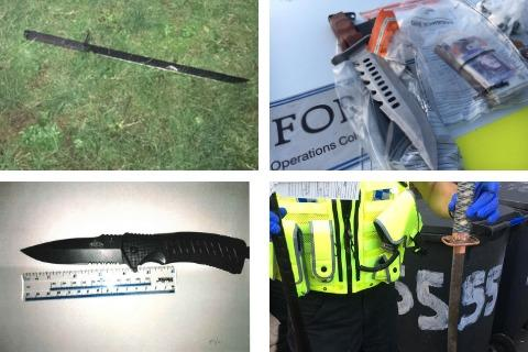 Pictures of knives and swords involved in recent police incidents in Swindon (from top left: Samurai sword involved in Exeter Street stabbing; knife and sword seized in Eldene raid; a knife seized from a teen in Swindon town centre