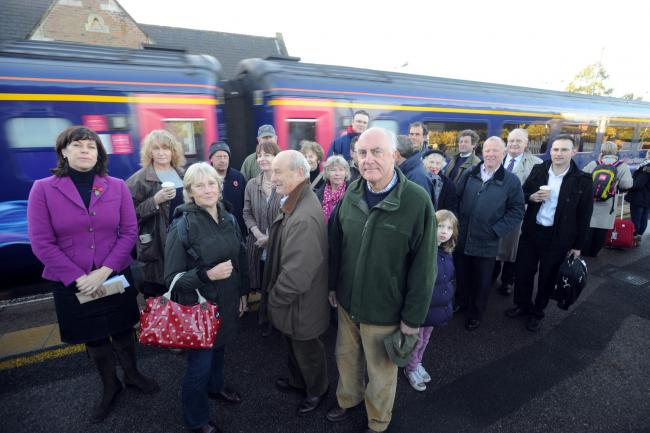 40197 MP Claire Perry (In Pink) meets with Pewsey Train Station commuters on the Pewsey Station to talk about reduced services from the station..Pics by Diane Vose..