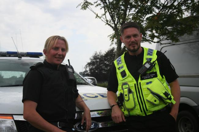 PC Emily Thomas and PC Marc Jackson of the Wiltshire Police Rural Crime Team at Police Headquarters, Devizes