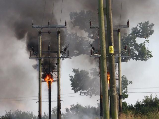 An electricity pole on fire near Malmesbury  Picture: Julie Taylor