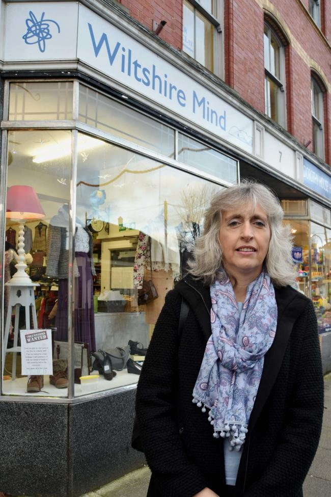 Wiltshire MIND chief executive Carolyn Beale outside the charity's shop in Church St Melksham..Photo by Glenn Phillips  GP639-2.