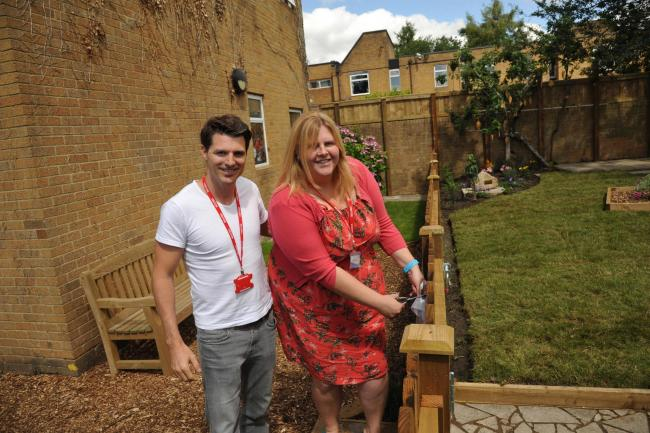 Boorman Memorial Garden Downlands Devizes. The new memorial garden dedicated to Downlands school  staff member Louise Boorman who died last year opened by her children Jon and Sarah Boorman. Photo:  Trevor Porter 58825 4.