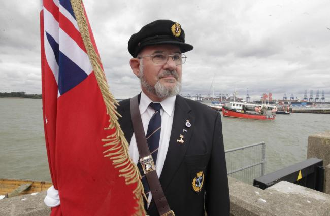 Service at the memorial in Harwich to mark Merchant Navy Day, Merchant Navy war memorial, The Quay, Harwich.Andy Tannock..