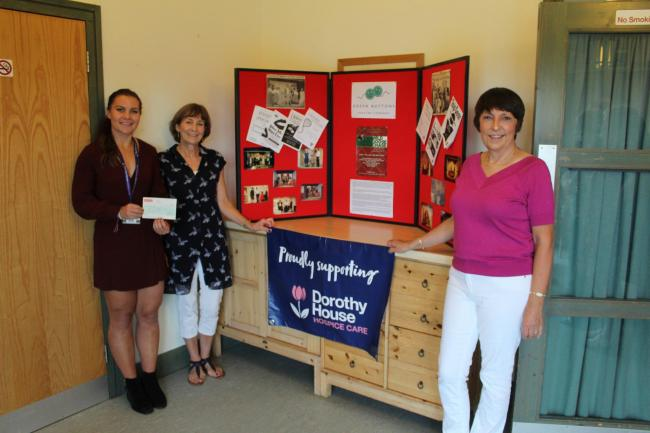 Pictured left to right: Verity Clark, Community Fundraiser, Dorothy House Hospice Care receiving the cheque from Nickie Evans, director, and Alison Parker, chair of Green Buttons Theatre Company
