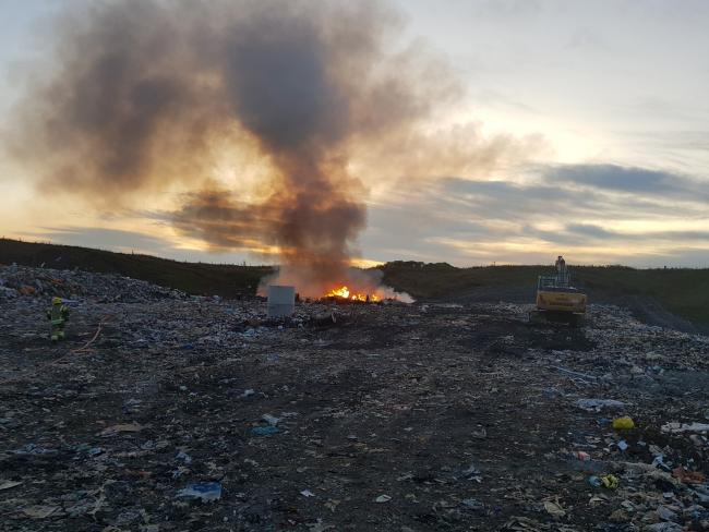 The blaze continued for over four hours at the Compton Bassett landfill site