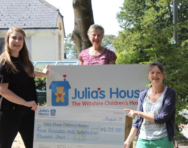 Ann Berry and Pippa Smith hand over the cheque to Julia's House