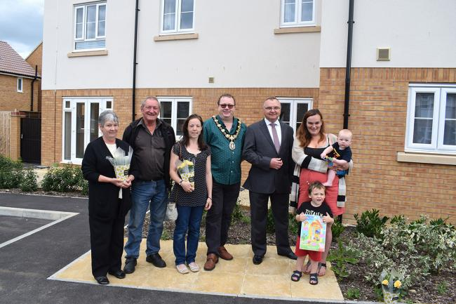 Woodroffe residents at the launch event with Calne mayor, Robert Merrick, and Greensquare's managing director for development, Barry Wood