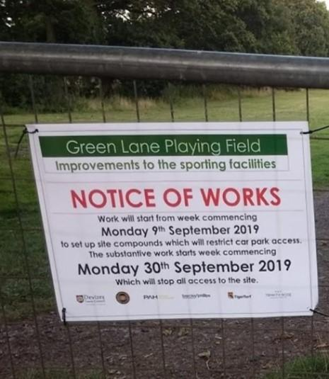The sign at the entrance to Green Lane playing field