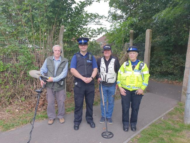 Peter Pearce and David Mallows from the Wyvern Historical and Detecting club with local police officers on their search.