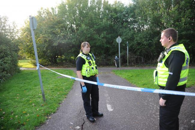 Body found in woodland near public footpath. Police investigate the discovery of the body of a man found hanging in a wooded area off Sussex Walk on the Paxcroft Housing estate Trowbridge. Photo Trevor Porter 66560 1..