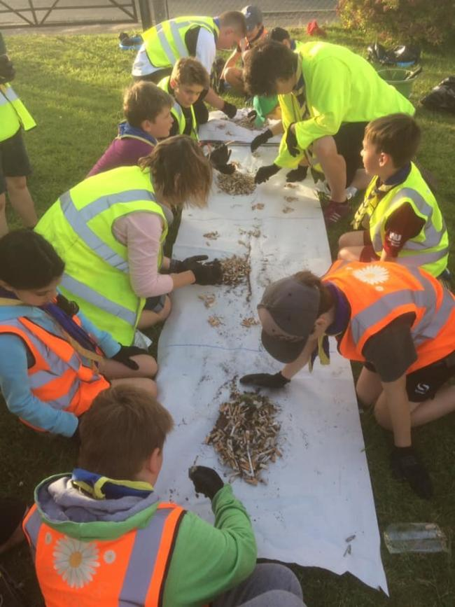 Pewsey cub scouts collected cigarette butts around the village