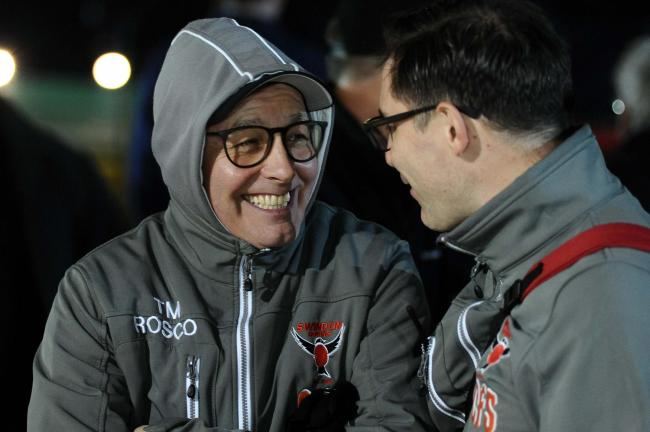 Swindon Robins team manager Alun Rossiter and co-promoter Lee Kilby are all smiles at the Abbey Stadium. PICTURE: DAVE EVANS