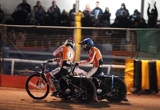 Swindon Robins duo Jason Doyle and Adam Ellis celebrate a 5-1 win against Wolverhampton Wolves. PICTURE: DAVE EVANS