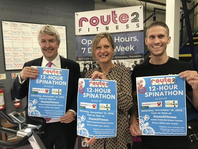 Devizes and District Foodbank trustee Richard Oliver, left, Wiltshire Community Foundation Philanthropy Director Joanne Brady and Route2Fitness owner Nick Holmes