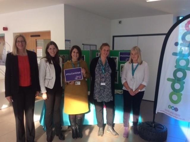 Children and Families Minister Michelle Donelan MP (second left) meets Adoption West staff and adopters in Trowbridge