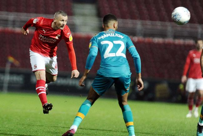 STFC v Mansfield            Pic Dave Evans       23/11/2019.Paul Caddis leaps to cross the ball.