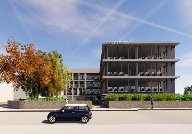 An artist's impression of the new multi-storey car park and Good Energy building