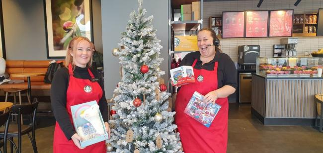 Starbucks Secret Santa Appeal for Barnardo's - Leanne Qua (left) and Samantha Curtis (right)