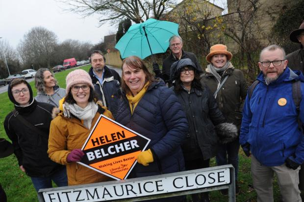 Layla Moran, the Lib Dem spokesperson for Education joins local candidate Helen Belcher canvassing at Bradford on Avon Photo: Trevor Porter 66644-2