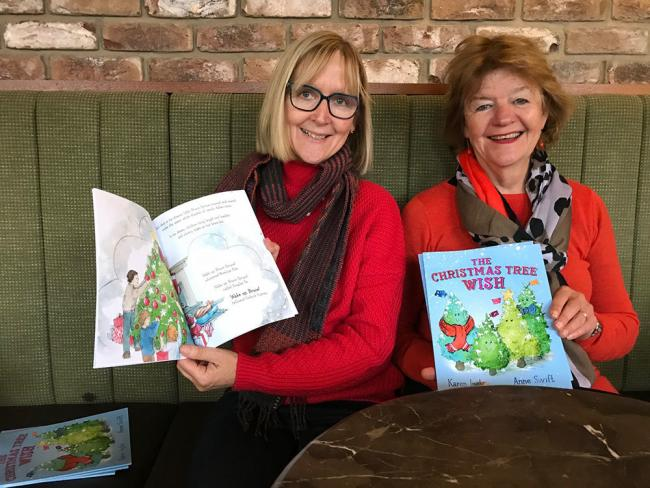 Karen Inglis and Anne Swift with their book The Christmas Tree Wish Photo MarlboroughNewsOnline