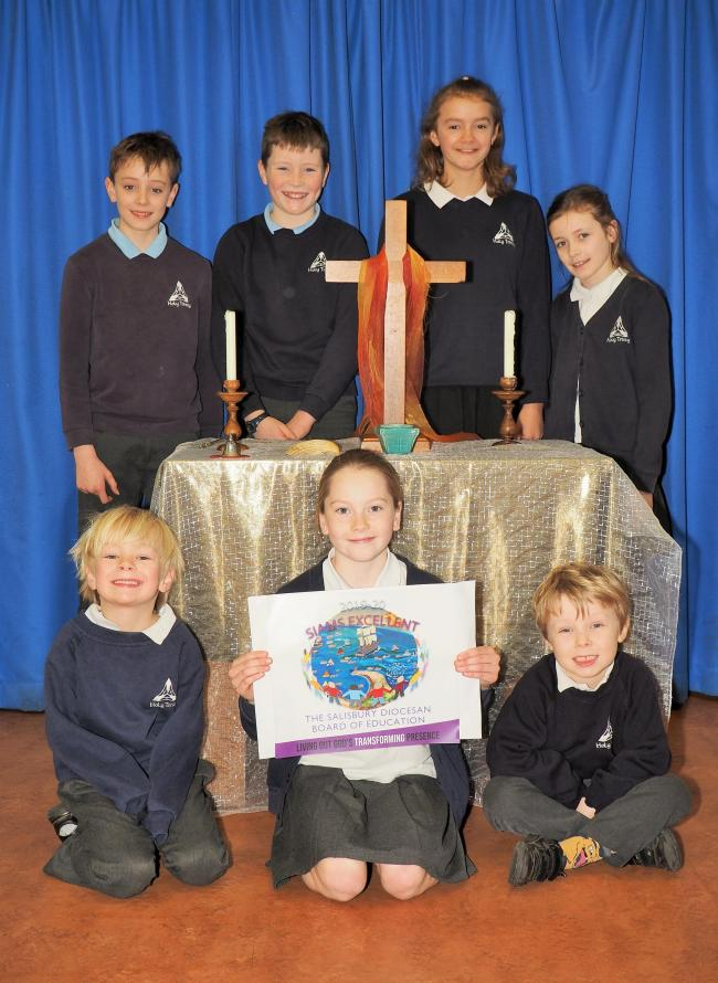 Pupils at Holy Trinity celebrate their inspection report
