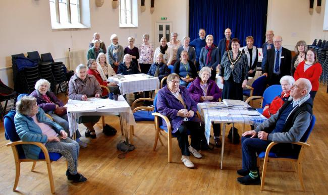 Elderly group members enjoy the opening of the new Chippenham Day Centre at King Alfred Hall
