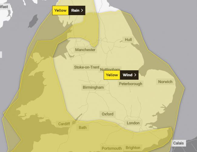 Yellow warnings for wind and rain Credit: The Met office