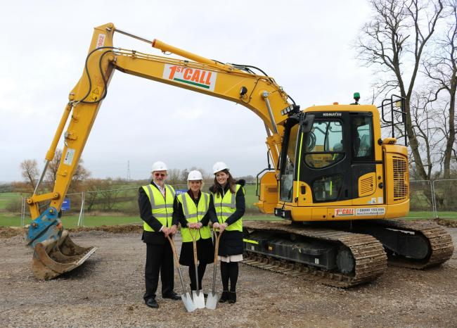 L-r Peter Wragg, Amanda Burnside and Michelle Donelan MP help launch construction of the new Agri-Tech Building