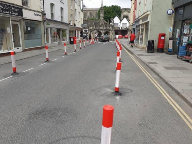 Increased space for pedestrians and shoppers on Malmesbury High Street