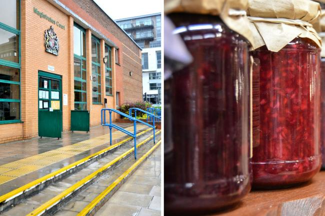 Composite image of Swindon Magistrates' Court and jam Pictures: DAVE COX/PIXABAY