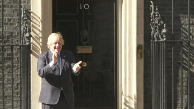 Prime Minister Boris Johnson came outside No.10 to clap for the NHS