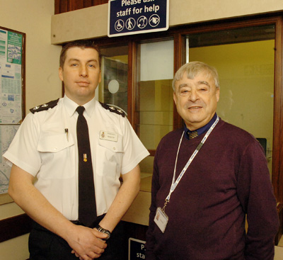 Inspector Steve Cox with volunteer Charles North