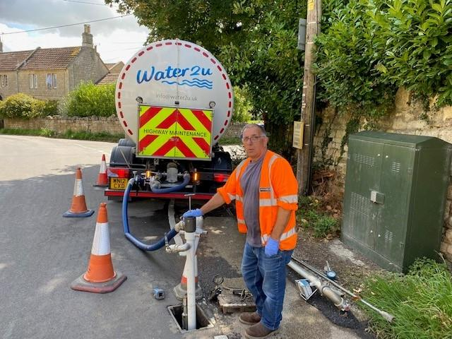 Martin Lloyd with the Water2U tanker at Westwood