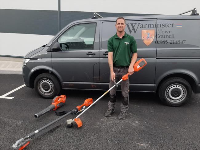 Adrian Rogers, park and open spaces supervisor, with the Husqvarna battery-powered tools