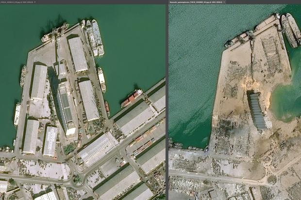 Undated handout photo showing the docks before and after the huge blast in the Lebanese capital, Beirut (Cnes 2020, Distribution Airbus DS/PA)