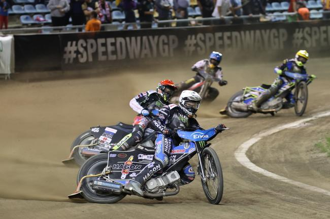 Jason Doyle leads the second Grand Prix before being shoved into third on the final straight Picture: Daniel Sievers