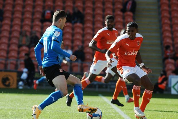 Jonny Smith on the attack before he was substituted at Blackpool last Saturday Picture: DAVE EVANS