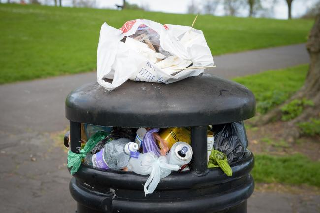 Rubbish and litter fill a bin at Victoria Park in Bedminster, Bristol, as litter louts could face fines of up to �150 for dropping rubbish, under plans unveiled by the Government.