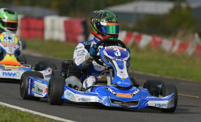 Malmesbury racer Louis Harvey in action during round two of the British Junior Karting Championships         Photo: Chris Walker