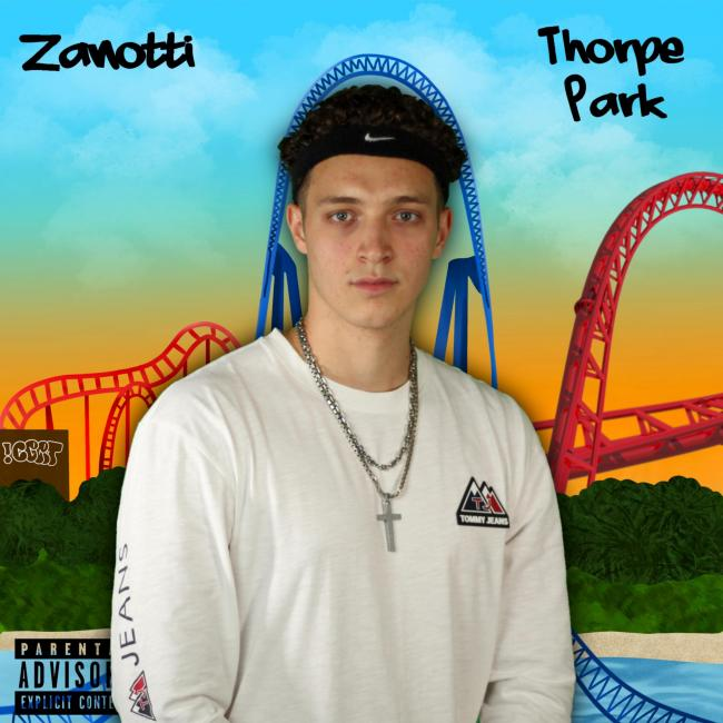 Adam Zanotti and the front cover for his new album Thorpe Park