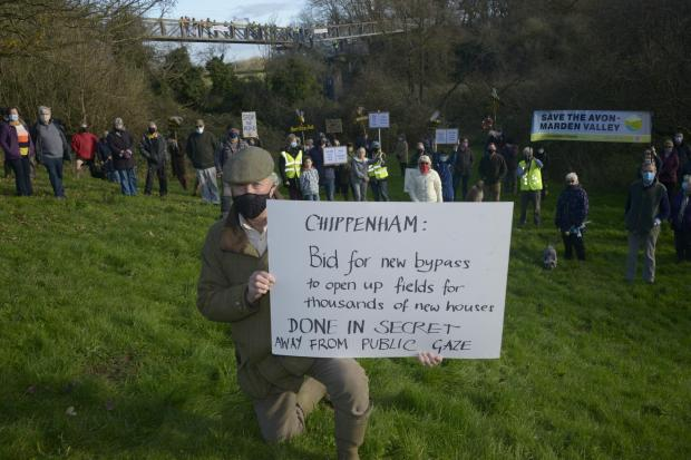 The Wiltshire Gazette and Herald: Cllr Ian James co-ordinated over 150 protesters in Chippenham over the plans last December. Photo Trevor Porter