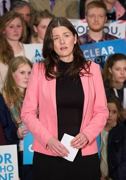 Michelle Donelan, Conservative Prospective Member of Parliament for Chippenham, speaks at a General Election Rally at The Corsham School in Chippenham, south west England on March 30, 2015. AFP PHOTO / LEON NEAL / POOL        (Photo credit should read LEO